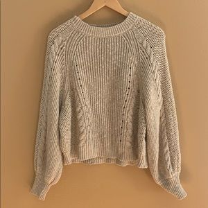 AE neutral cropped balloon sleeve sweater